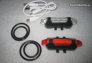 Luzes frente/tras led recarregaveis por USB novas