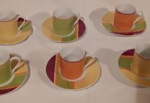 Conjunto colorido de café para 6 pessoas, NOVO!