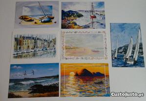 Conjunto de 7 postais tema: Mar e Barcos, novos!