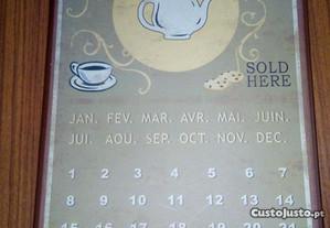 Calendário, placa frances café