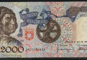 Espadim - Nota de 2.000$00 de 1991 - Nova