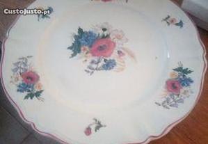 Loiça Francesa - Prato Grande com flores - Antigo