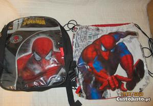 Pequena mochila e saco p/ criança do homem-aranha