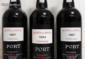 3 garrafas de vinho do porto Quinta do Noval