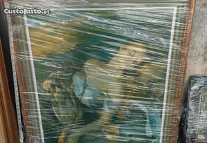 Quadro de busto feminino.Caixilho em madeira 70x86
